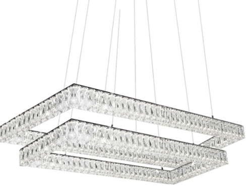 Kuzco Solaris – Double Tier Chandelier with Diamond Cut Clear Crystals