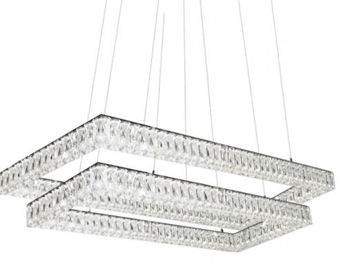 Kuzco Solaris – Double Tier Chandelier with Diamond Cut Clear Crystals